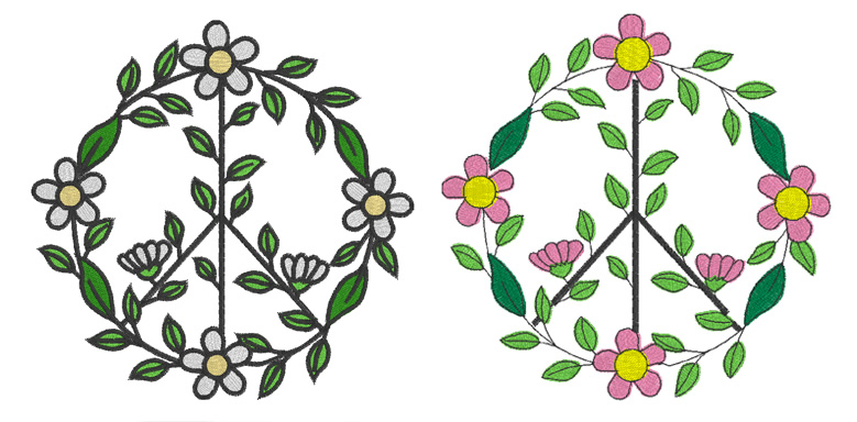 Peace Sign Flower Circle Fill Design