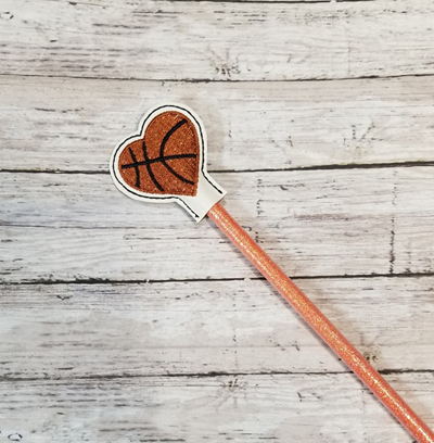 Pencil Basketball Heart Topper Digital File