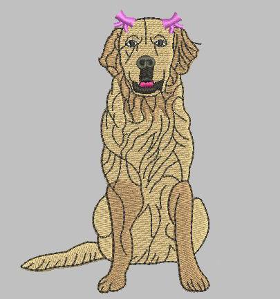 Golden Retriever 5x7 Girl Dog Two Bows Design