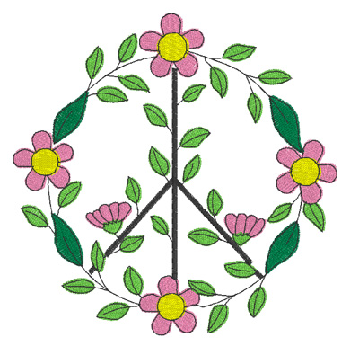 #1558 Peace Sign Flower Circle Fill Design