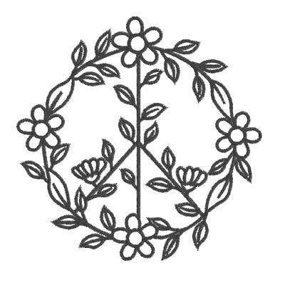 Peace Sign Flower Circle Outline Design