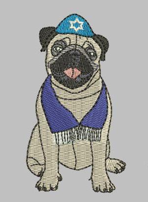 Pug J Dog 4x4 Digital File