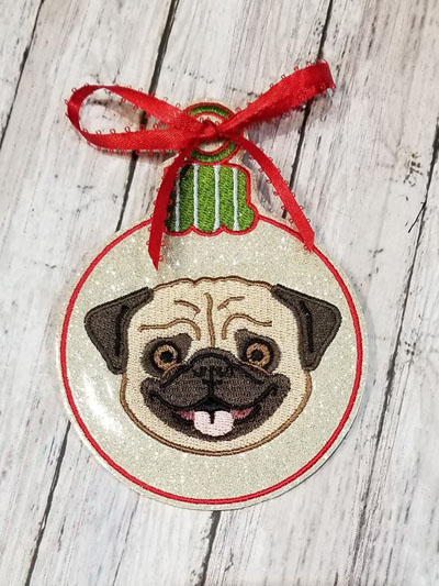 Ornament Pug Face Ball Digital File