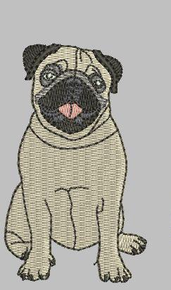 Pug Dog 4x4 Design Digital File