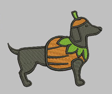Pumpkin Weenie Dog 5x7 Digital File
