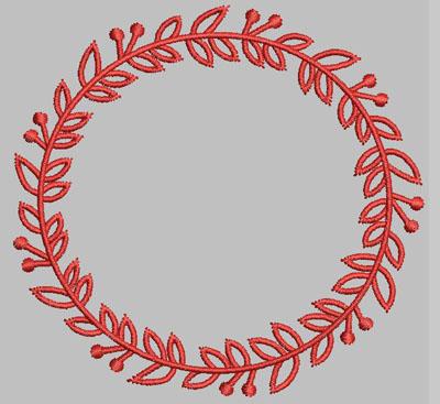 Berry Wreath Outline Circle Digital Design File